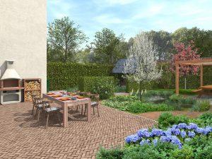 landelijke tuin aangelegd met vijver