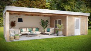 3d ontwerp overkapping met tuinhuis