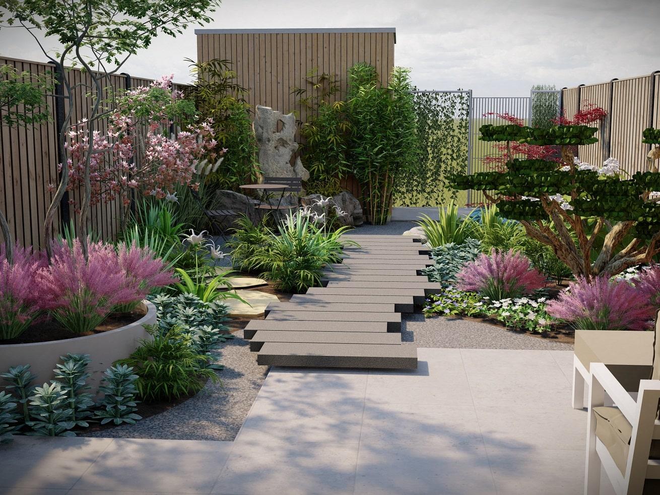 3d ontwerp tuin sfeervol