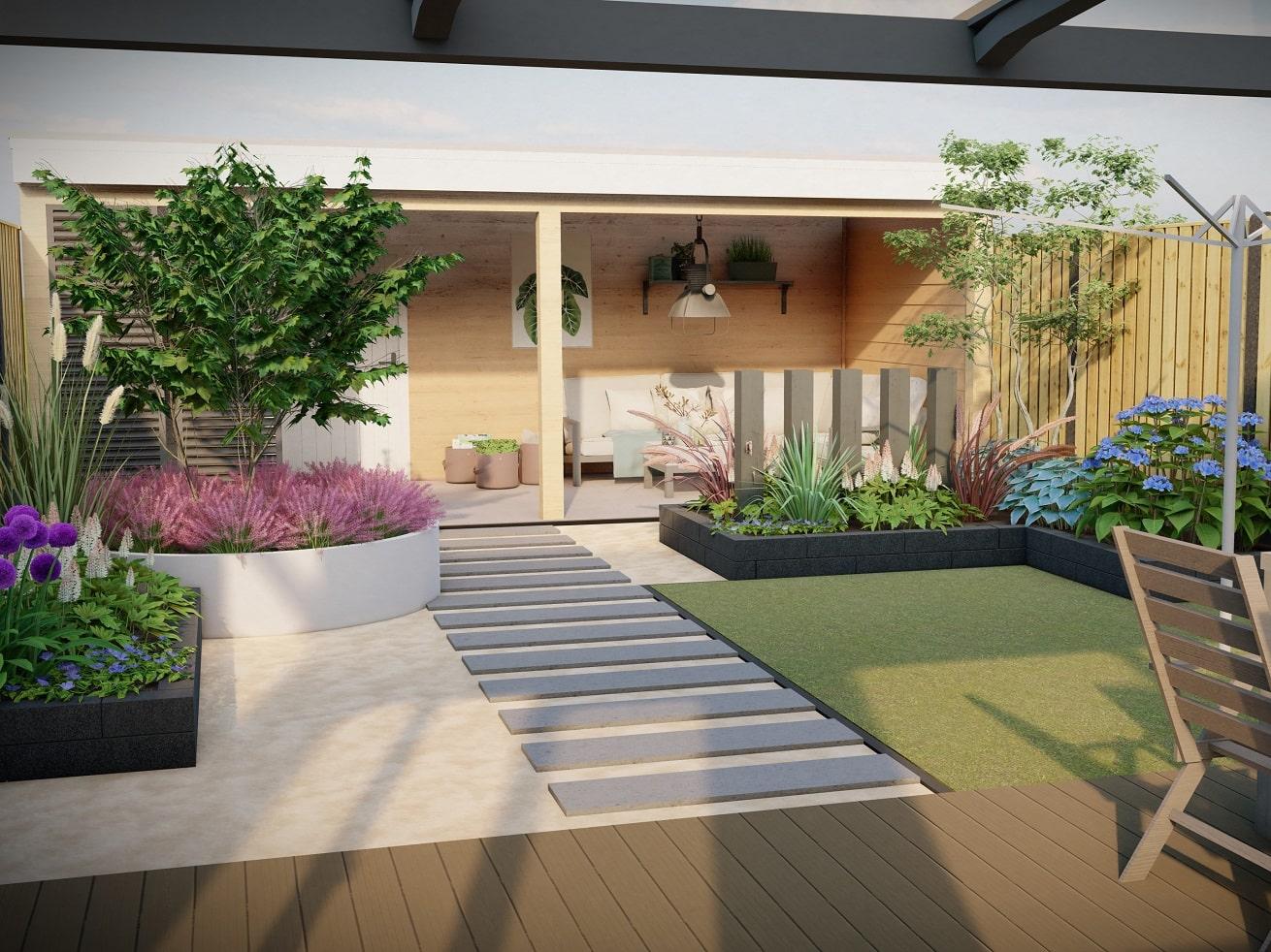 Ontwerp tuin met overkapping en veranda