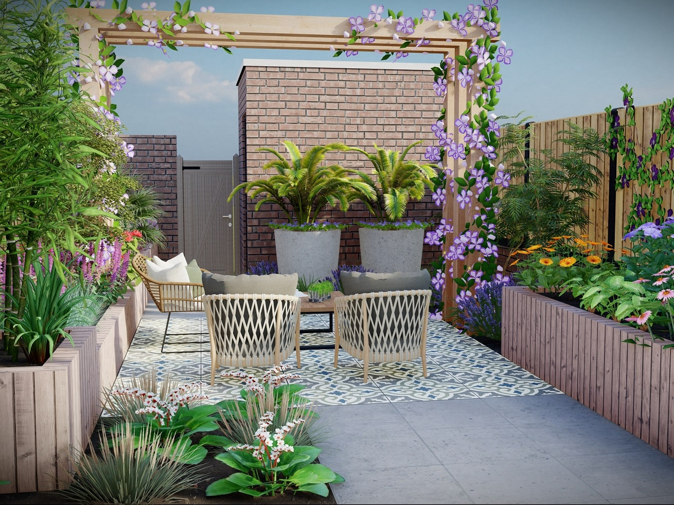 Kleine tuin ontwerp mediterraans