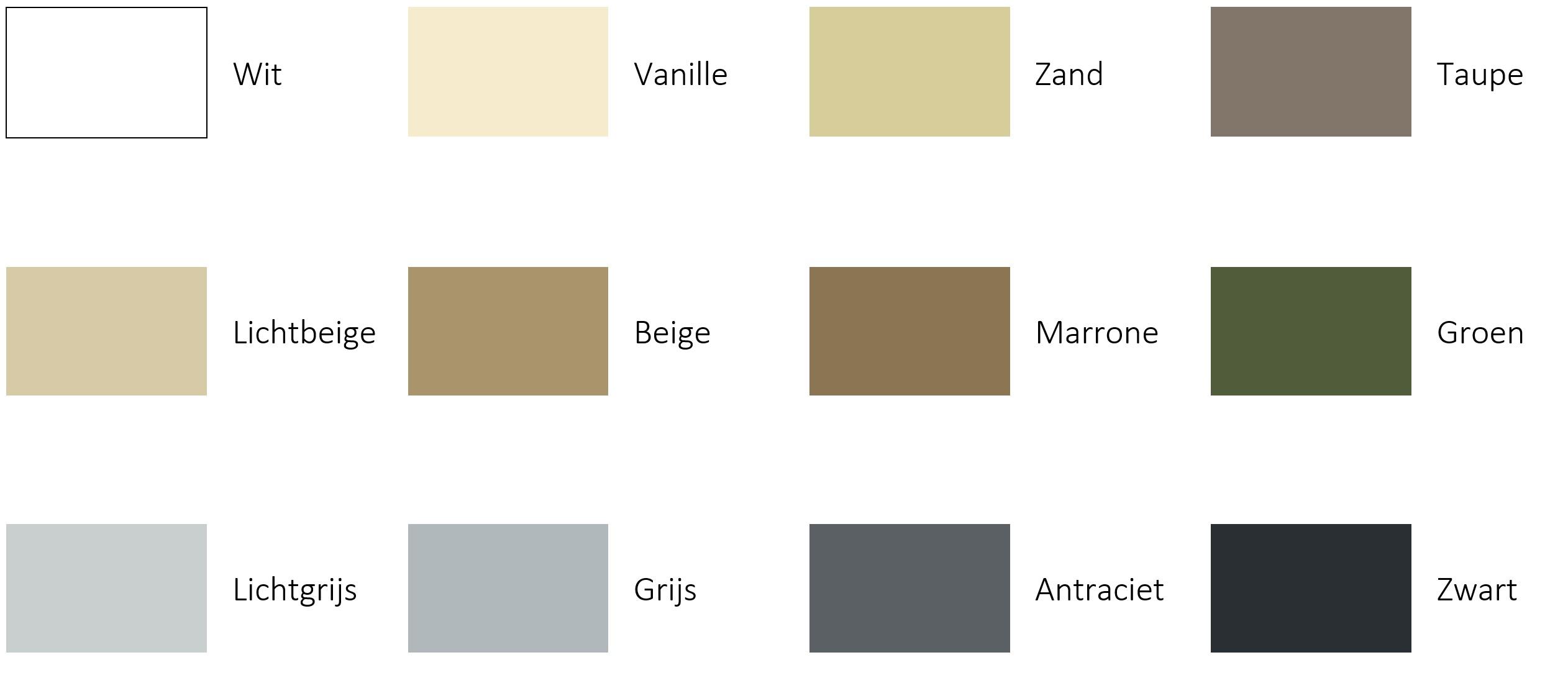 Kleurenpalet zeiloverkappingen